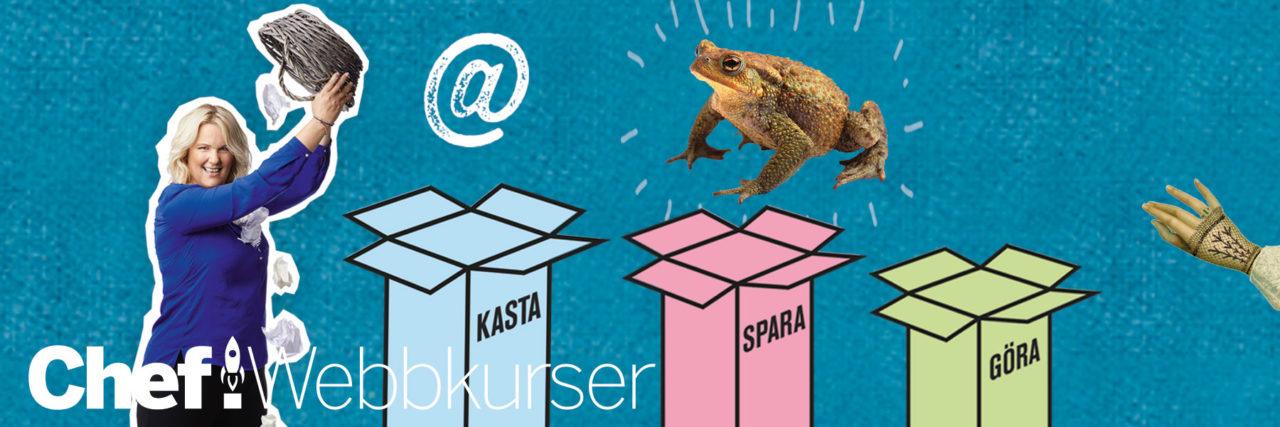 """Chefs effektivitetsexpert Petra Brask tillsammans med tre lådor med texterna """"kasta"""", """"spara"""" och """"göra""""."""