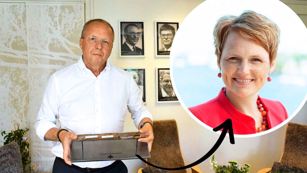 Anders Källström, LRF, lämnar över stafettpinnen till nya vd:n Anna-Karin Hatt