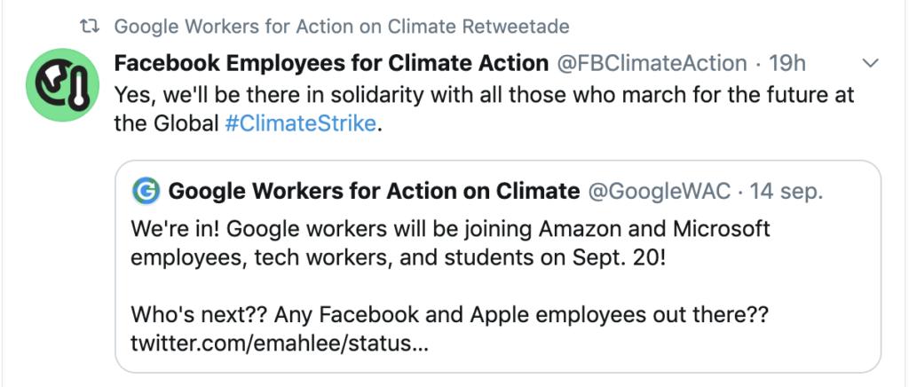 Retweet från Google om att även Facebook är med i klimatstrejken.