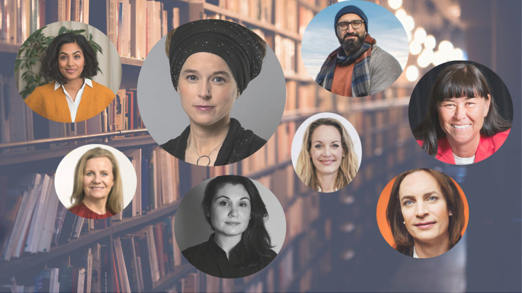 Bild på bokhylla i bakgrunden, i förgrunden: Amanda Lundeteg, Hélène Barnekow, Amanda Lind, Suzan Hourieh Lindberg, Lisa Gunnarsson, Hamid Zafar, Katarina Berg och Caroline Farberger