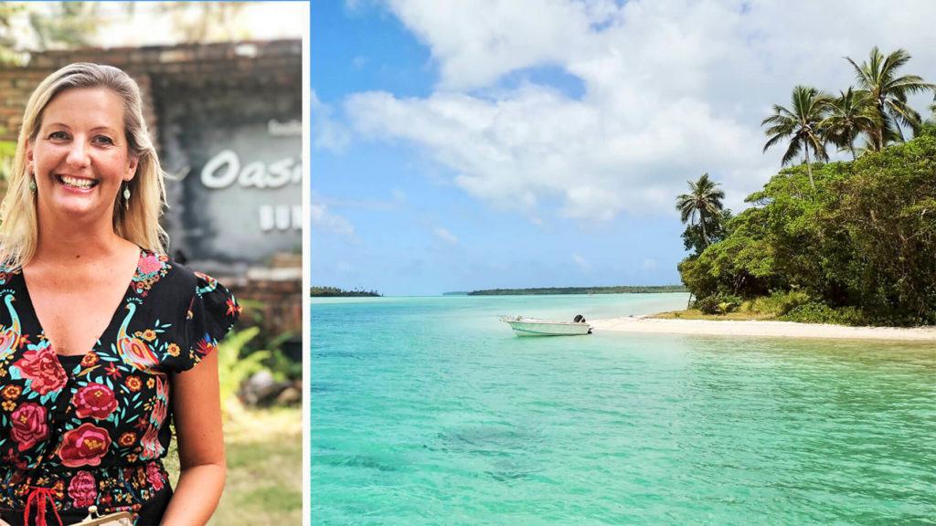 Jannica Grönqvist, chef på Resebemanning, och strand i Thailand (montage)