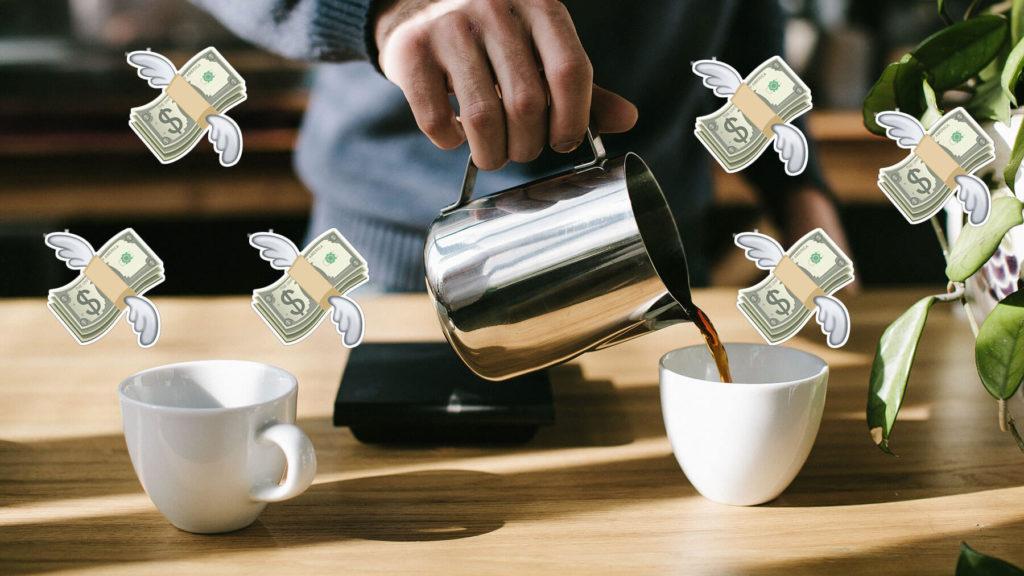 Kaffekopp med flygande penga-emojis