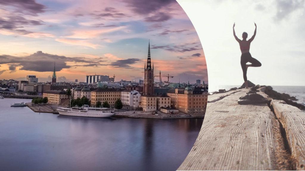 Bild på Stockholm samt en bild på person som gör yoga (collage)