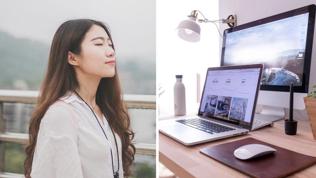Lugn kvinna till vänster, två datorer till höger