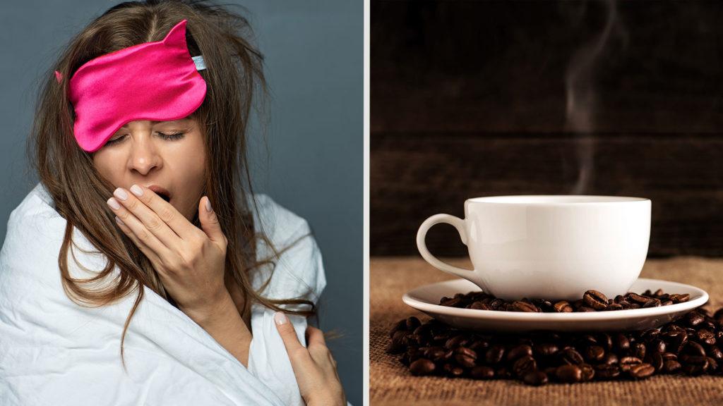 En kvinna som gäspar och kaffekopp