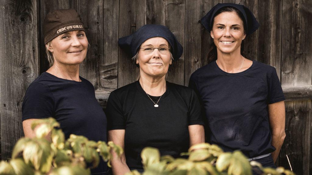 Åre Chokladfabriks grundare och ägare Marie Söderhielm, Eva-Lena Grape och Marina Hansson har ingen enskild vd