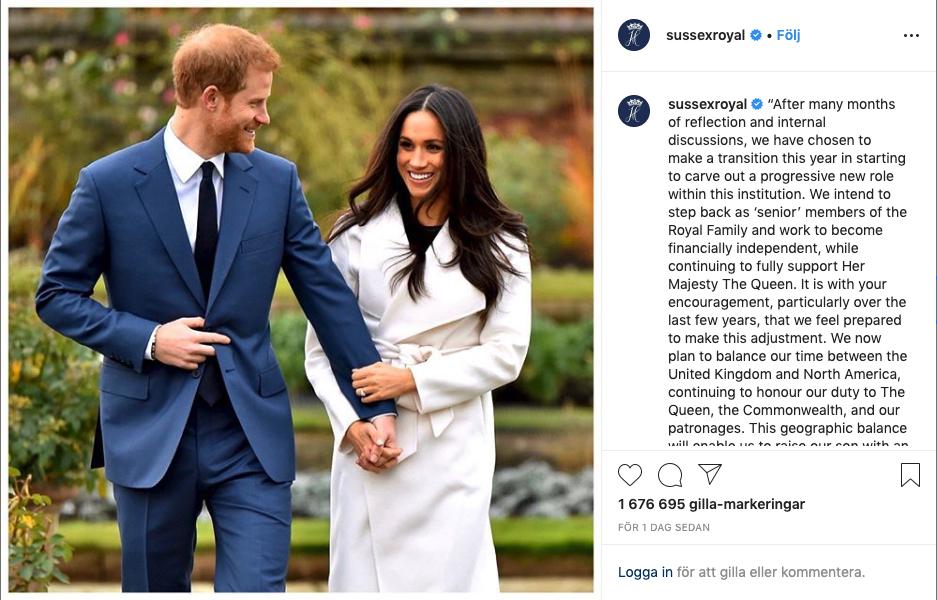 Bild från Meghan och Harrys instagram, där de annonserade sitt utträde från brittiska kungahuset