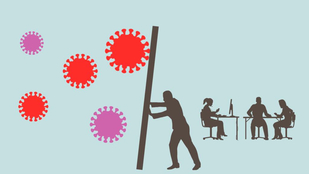 Bild på ledare som motar bort coronavirus