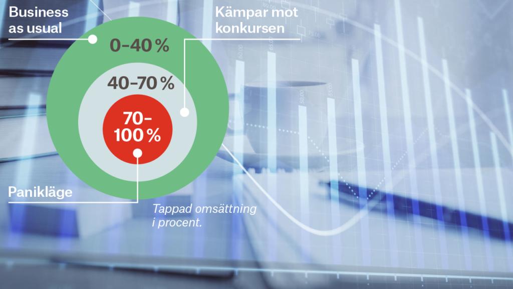 Günther Mårders modell med tre cirklar, där företag är i olika faser av ekonomisk kris