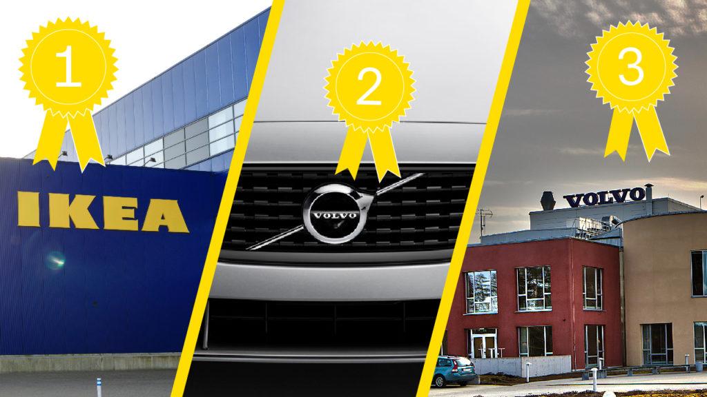 Collage: Ikea, Volvo cars och Volvo groups är topp tre i Sveriges bästa arbetsplatser