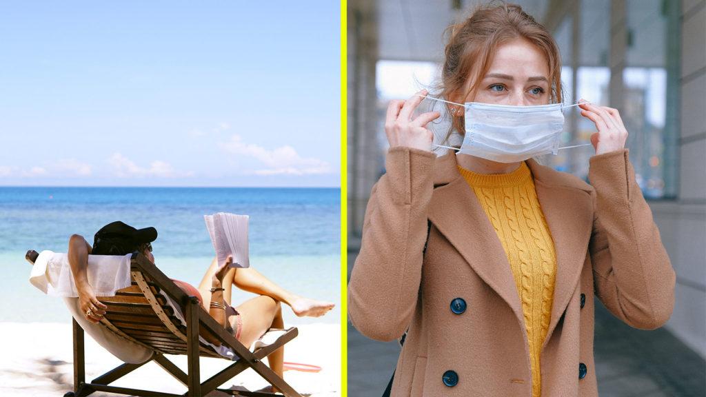 Collage av bild på semester samt person med munskydd