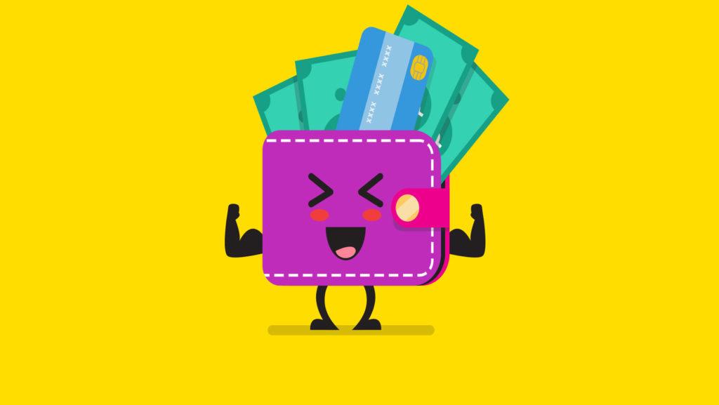 Teckning av en fylld plånbok
