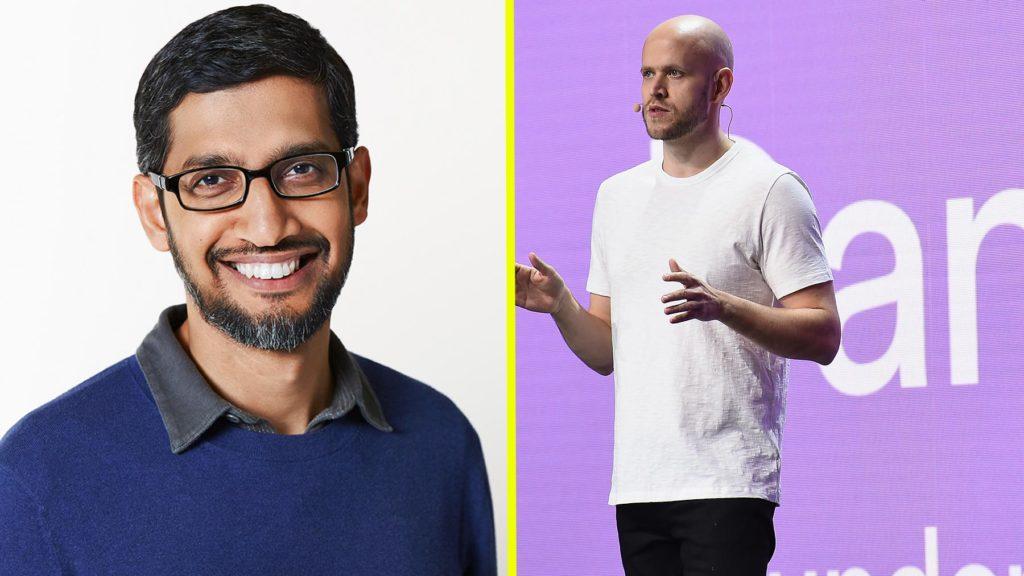 Sundar Pichai, vd på Facebook, och Daniel Ek, vd på Spotify