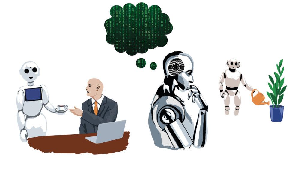 Robot som ger en man kaffe, robot som tänker och robot som vattnar blommor