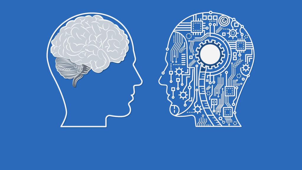 Teckning av ett huvud med en hjärn ai genomskärning och ett huvud med elektronik