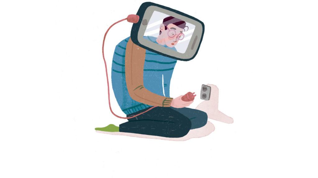 Person med huvudet in en skärm som drar ut en elkontakt