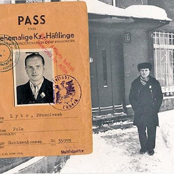 Svartvit bild av Rickards farfar och hans pass
