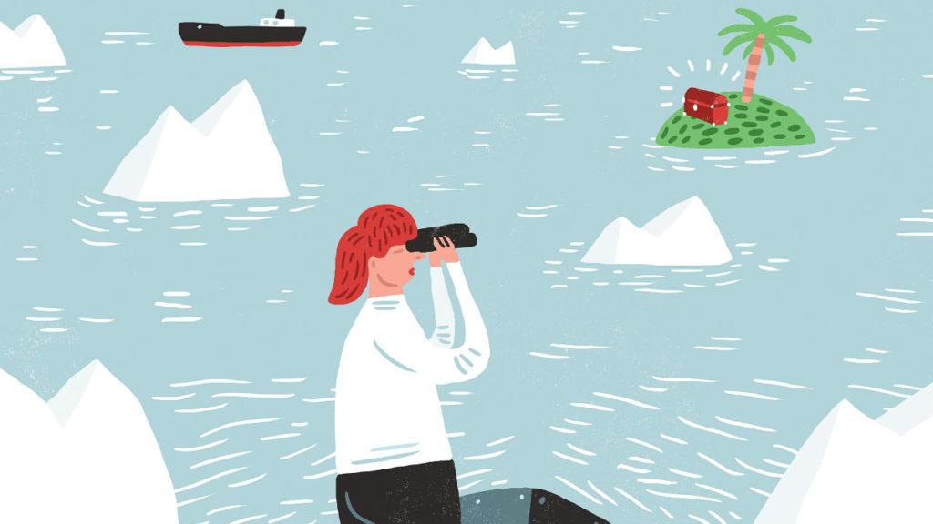 Illustration av kvinna som tittar i kikare på en ö med en palm och en skattkista