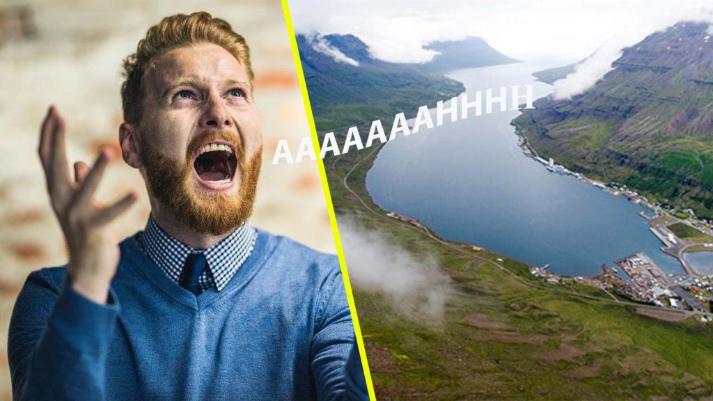 Collage av en man i blå tröja som skriver, samt bild från Island