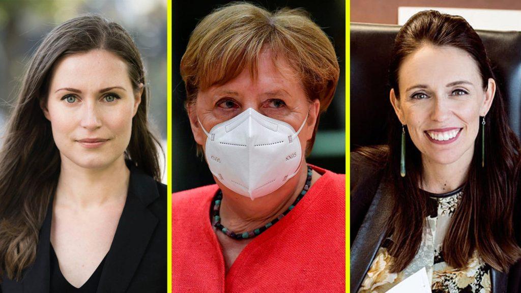 Sanna Marin, Angela Merkel och Jacinda Ardern