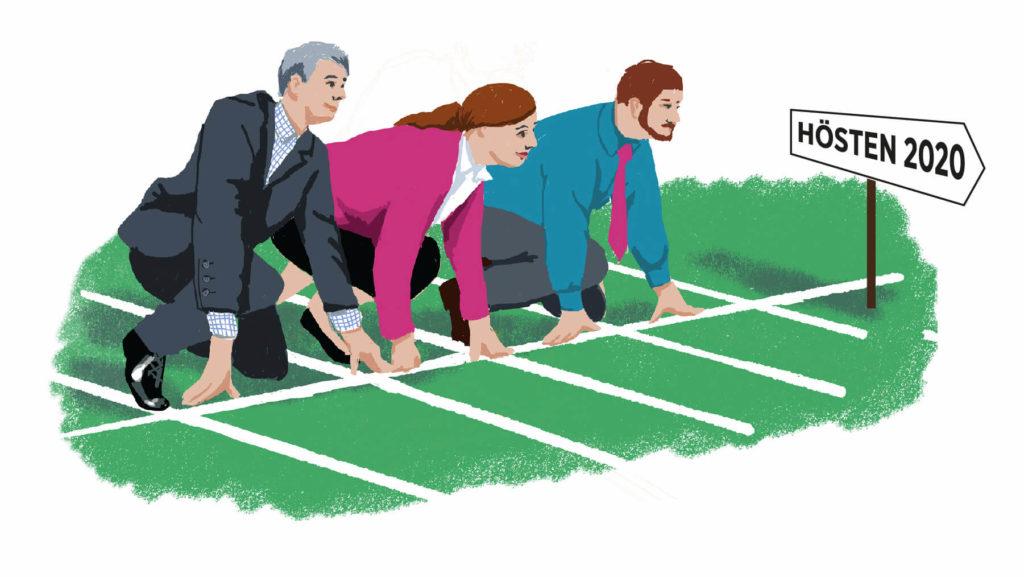 Tre chefer i kontorskläder i startposition på löparbana. Skylt som pekar mot Hösten 2020.