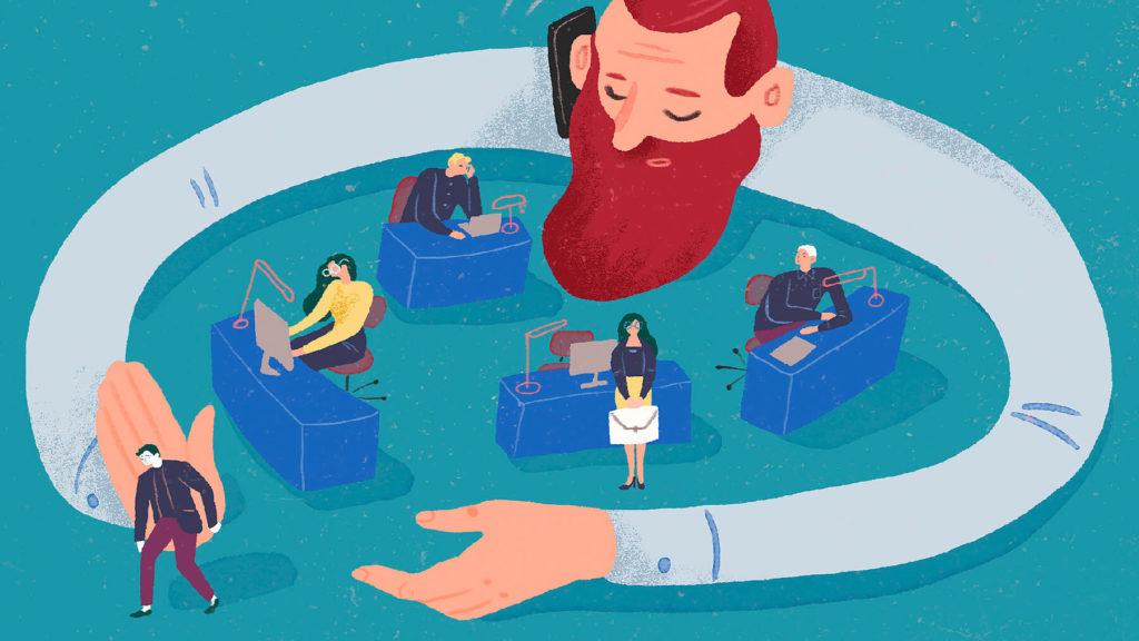 Illustration där en stor chef med långa armar håller om små medarbetare på ett kontor.