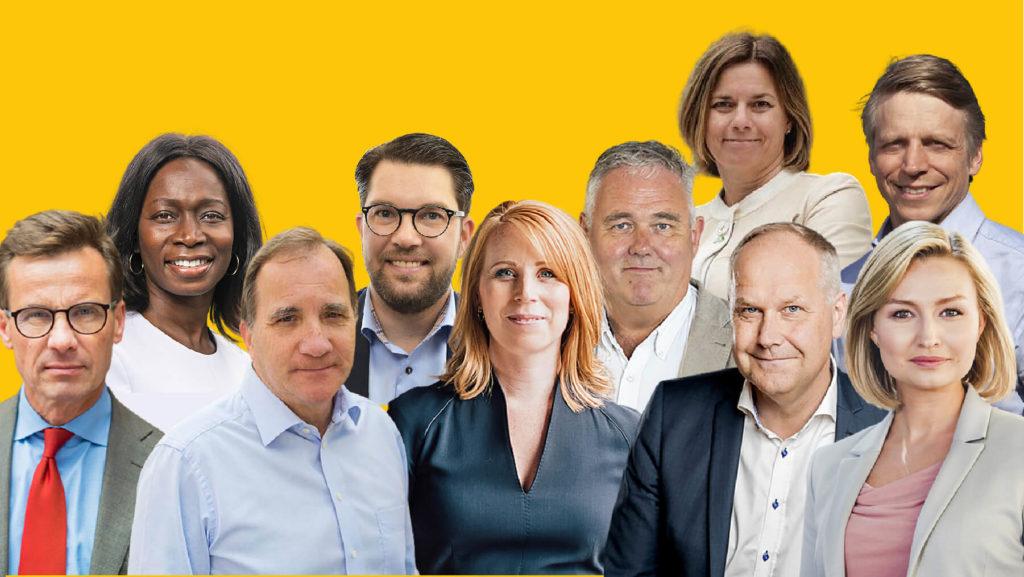 Collage av partiledarna från Moderaterna, Liberalerna, Socialdemokraterna, Sverigedemokraterna, Centern, Miljöpartiet, Vänsterpartiet och Kristdemokraterna