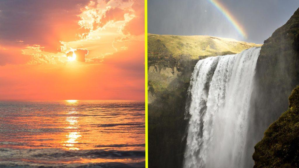 Solnedgång och vattenfall och regnbåge
