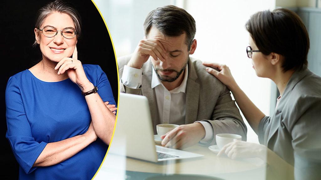 Psykolog Liria Ortiz och en bild på två personer i ett svårt samtal