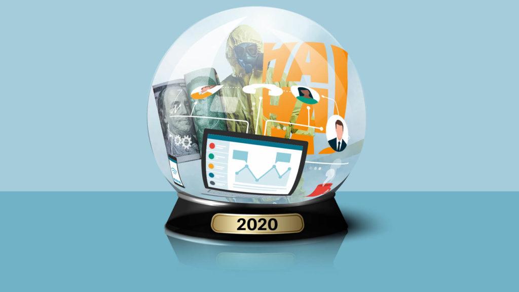 Spåkula där det står 2020 och i den ser man sedlar, en dator, en person i skyddskläder med mera.