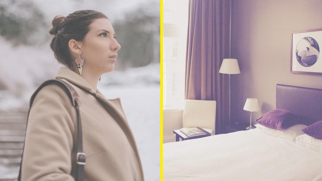 Collage av kvinna i beige jacka som blivit uppsagd/bild från hotellrum