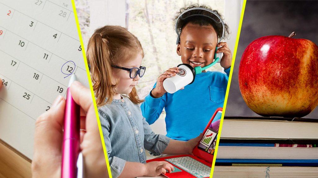 Collage av en kalender, två barn som leker med jobba hemma-kit och studieböcker