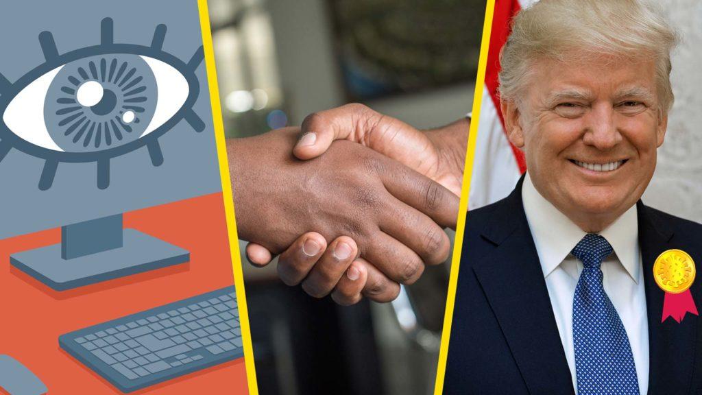 Övervakande ögon, två händer ocg Donald Trump