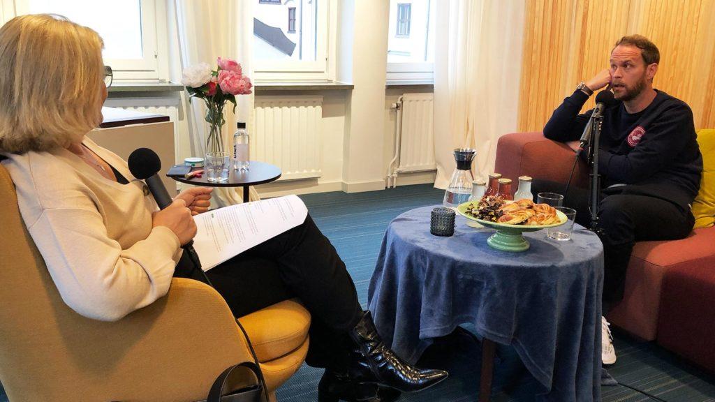 Cissi Elwin och Björn Frantzén under poddinspelningen av Chef Dilemma