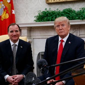 Statsminsister Stefan Löfven träffar Donald Trump i Vita huset i mars 2018.