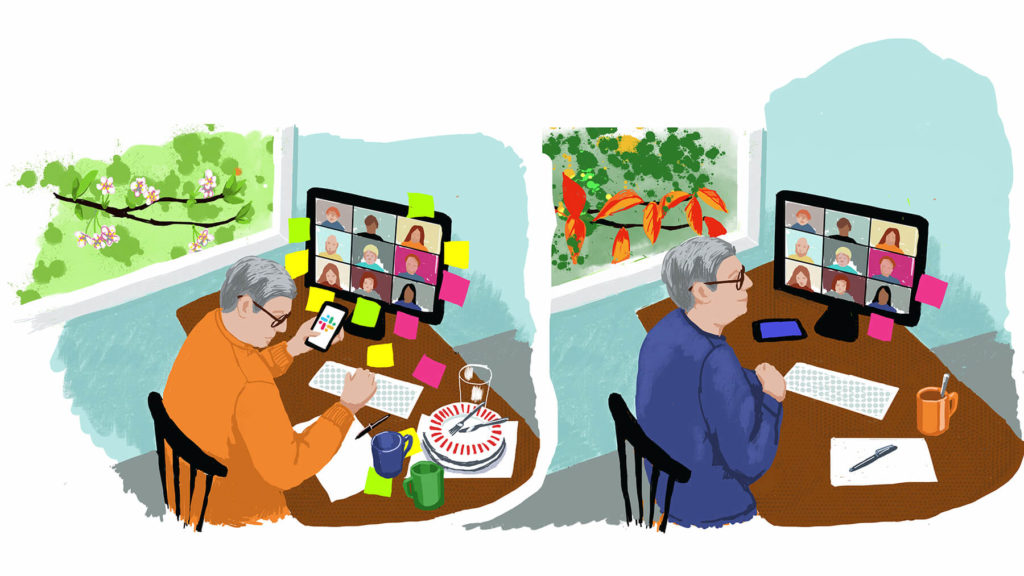 Ullustraton med stressad chef framför ett skrivbord på våren, samma chef som är lugnare på hösten.