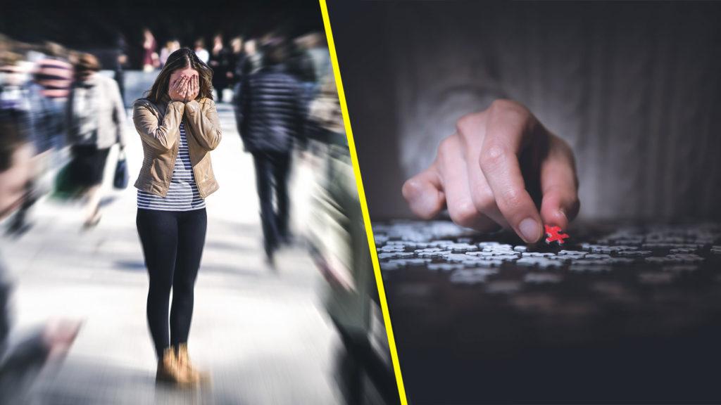 Collage: Orolig person i folksamling samt livspussel i form av ett pussel