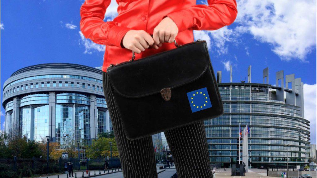 Person i Bryssel med EU-väska, på väg att göra karriär