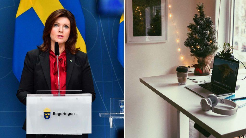 Eva Nordmark (S) och hemma-arbetsplats. Bilden är ett collage.