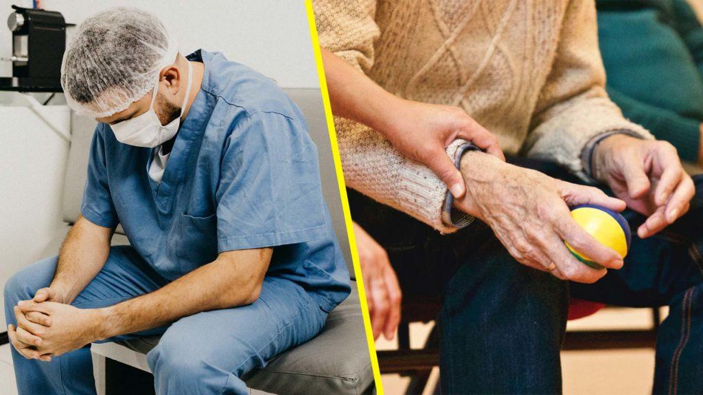 Vårdchef och bild på en äldre persons hand