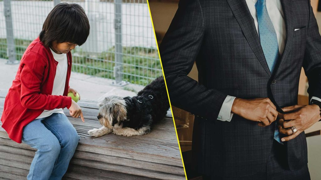 Barn med sitt husdjur/Chef med kostym