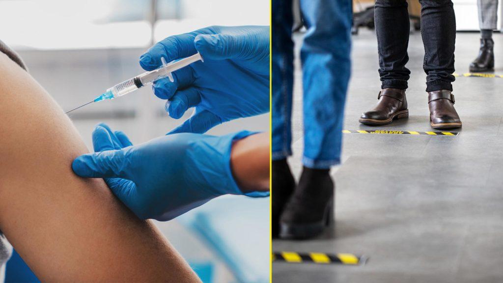 Collage av vaccination/människor i kö