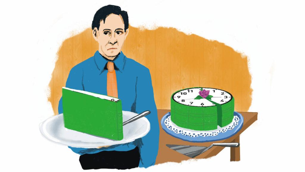 Illustration med en missnöjd man som fått en liten bit av en tårta formad om en klocka.