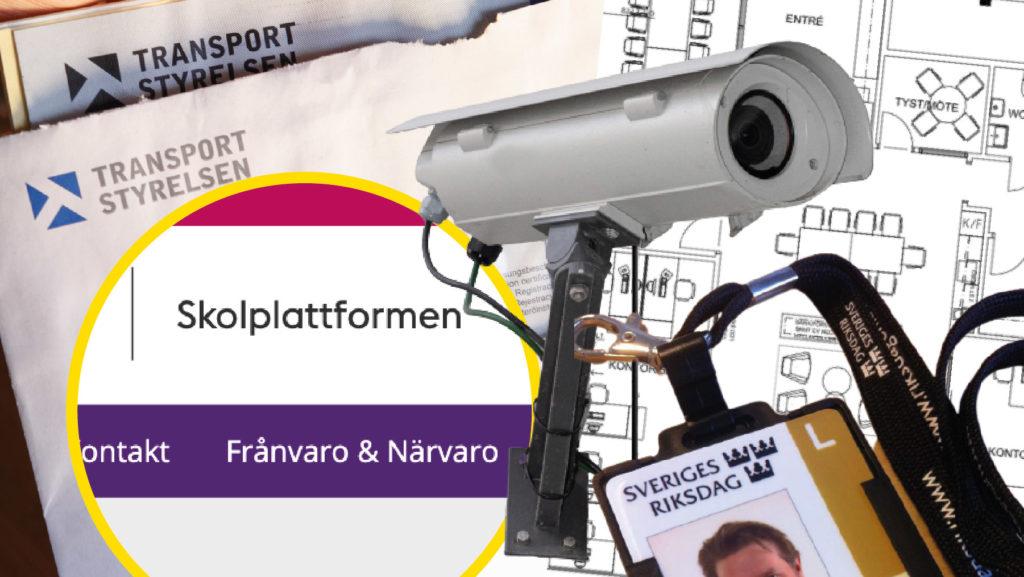 Collage med övervakningskamera, skolplattformen, passerkort till Riksdagen.