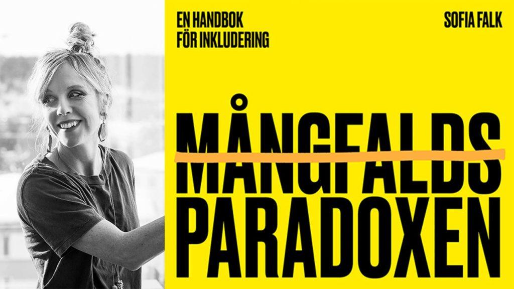 Sofia Falk och omslaget till Mångfaldsparadoxen