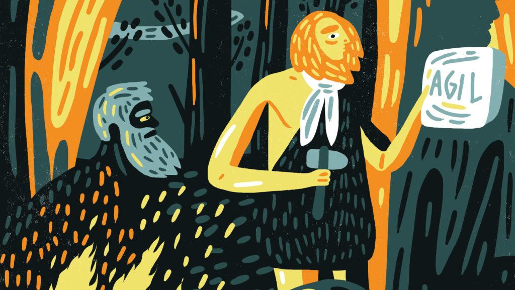 Illustration med en stenåldersmänniska som håller upp en stenplatta där det står Agil.