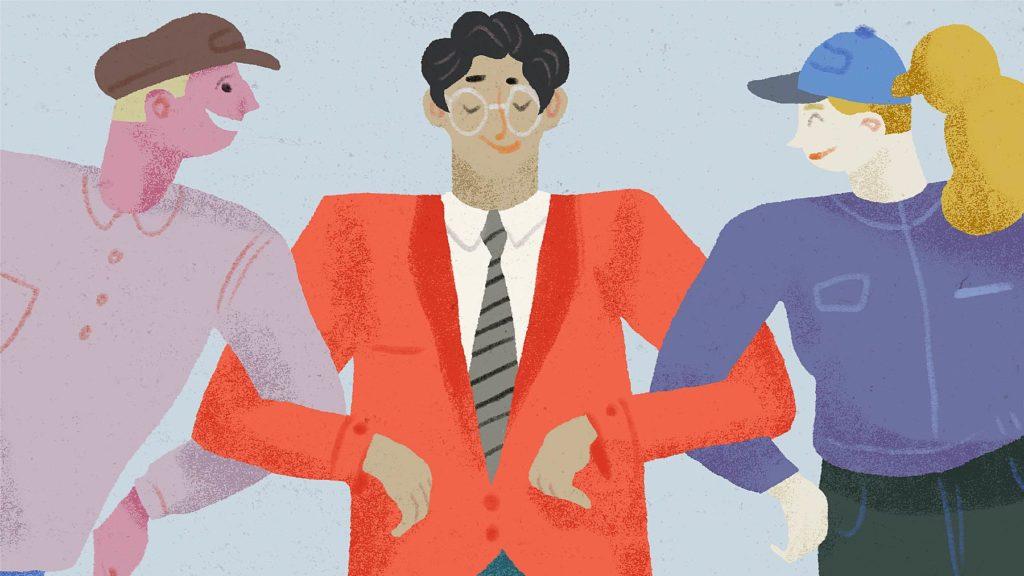 Illustration med tre nöjda personenr som krokar arm med varandra.