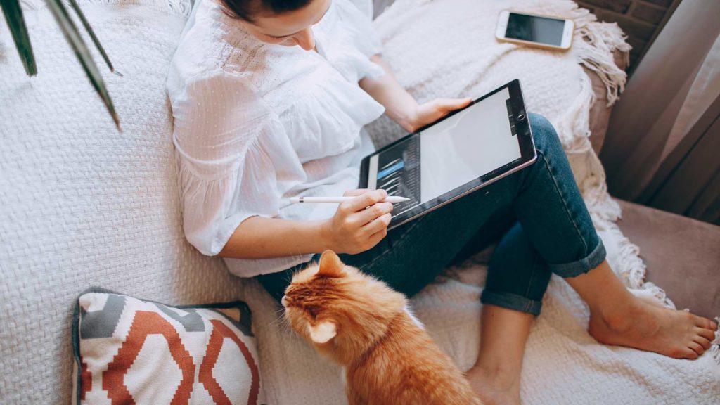 En kvinna sitter och jobbar i en soffa med en katt bredvid sig.