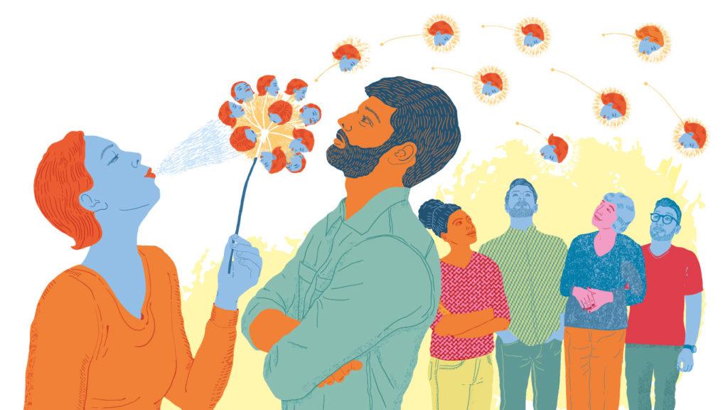 Illustration med kvinna som blåser ut som bilder av sig själv över en man som står i vägen för henne.