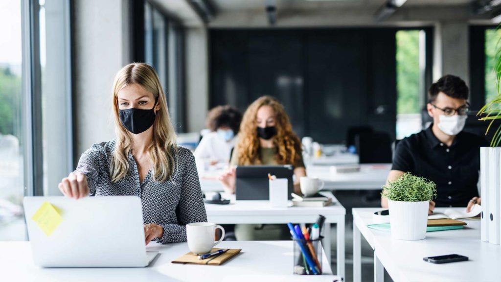 Några personer sitter på ett kontor framför sina datorer. De har på sig munskydd